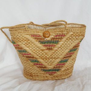 Vintage | Woven Straw Bag | Beach Tote